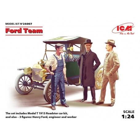 Ford Team (modèle T 1913 Roadster kit voiture et 3 figurines) Kit de voiture et des chiffres de Henry Ford un ingénieur et un ou
