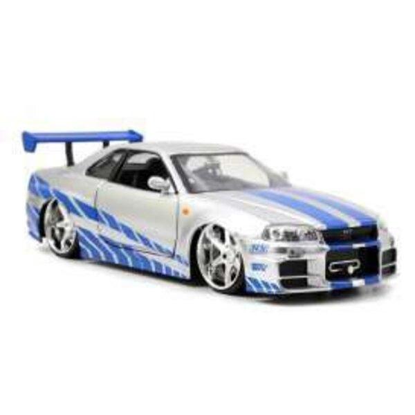 Fast & Furious 1/32 2002 Nissan Skyline GTR R34 *argent/bleu* métal