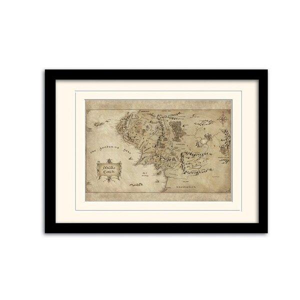 Le Hobbit Un voyage inattendu poster encadré avec passe-partout Middle Earth Map
