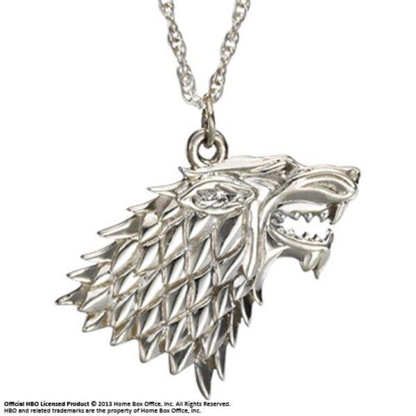 Le Trône de fer pendentif et collier argent Stark