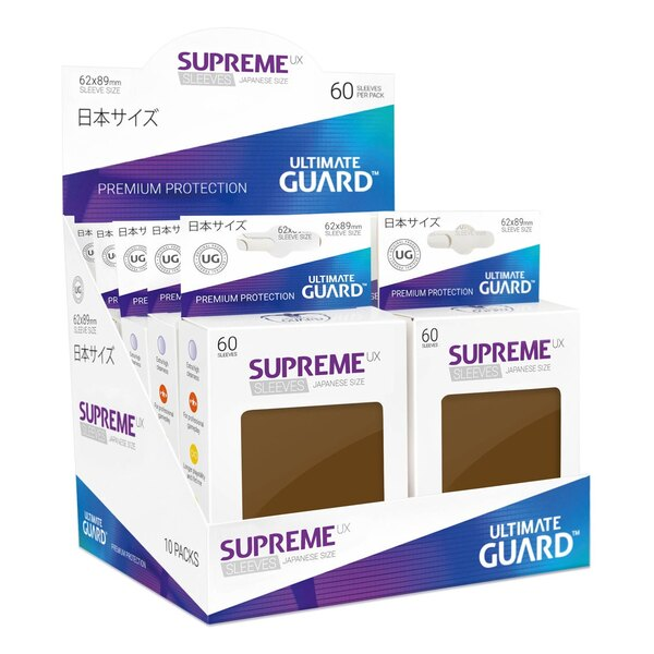 Ultimate Guard 60 pochettes Supreme UX Sleeves format japonais Marron