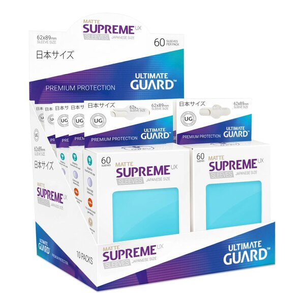 Ultimate Guard 60 pochettes Supreme UX Sleeves format japonais Aigue-marine Mat