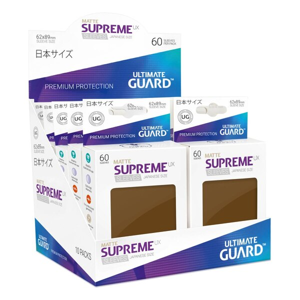 Ultimate Guard 60 pochettes Supreme UX Sleeves format japonais Marron Mat
