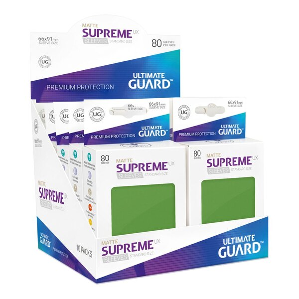 Ultimate Guard 80 pochettes Supreme UX Sleeves taille standard Vert Mat