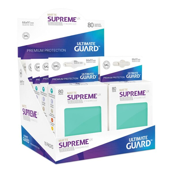 Ultimate Guard 80 pochettes Supreme UX Sleeves taille standard Turquoise Mat