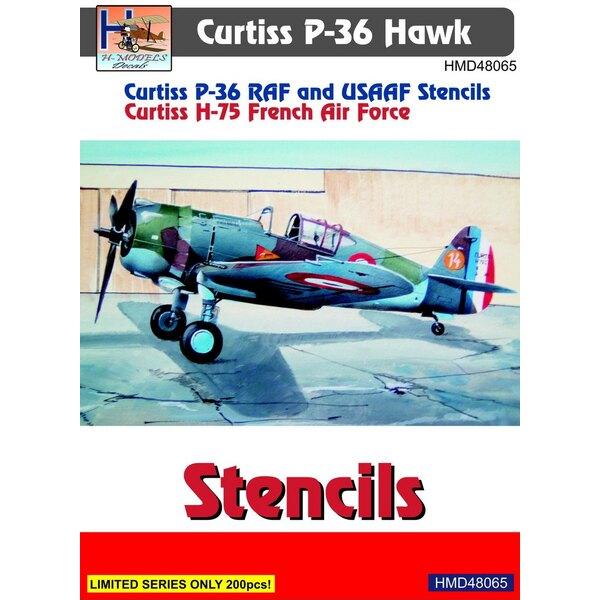 Décal Curtiss P-36 pochoirs