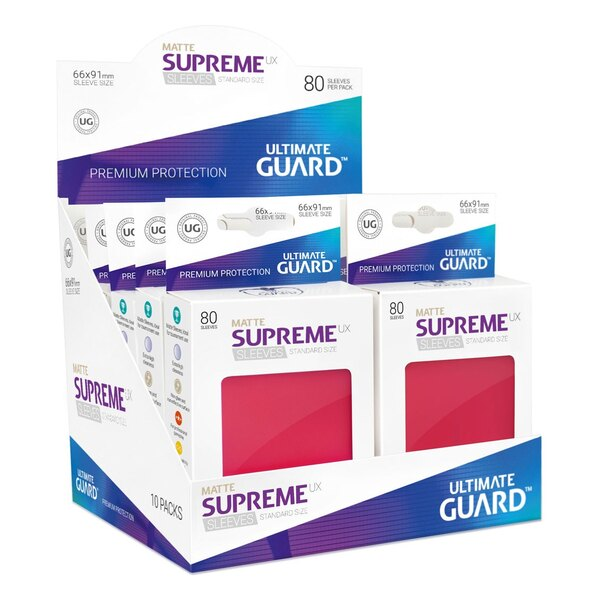 Ultimate Guard 80 pochettes Supreme UX Sleeves taille standard Rouge Mat