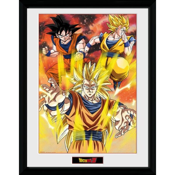 Dragonball Z poster encadré 3 Gokus 45 x 34 cm