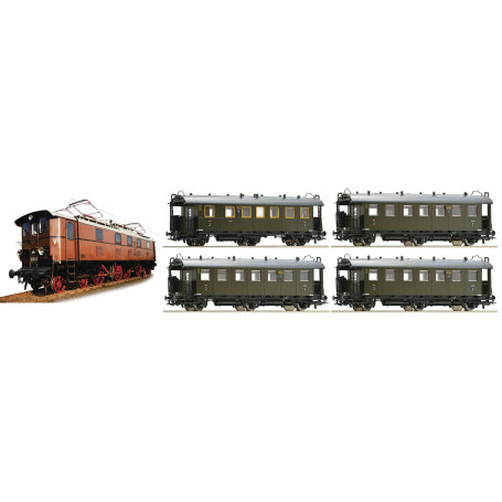 """Passenger train of the Gruppenverwaltung Bayern"""" with locomotive of the class EP 5, DRG."""