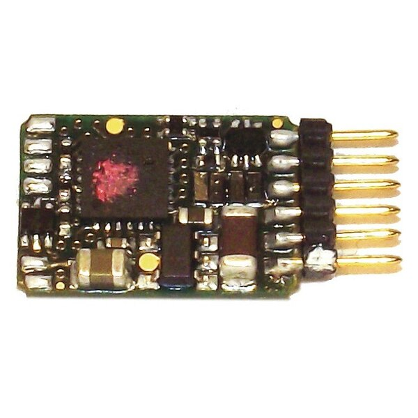 DCC decoder with feedback features and built-in 6-pin plug (NEM 651).