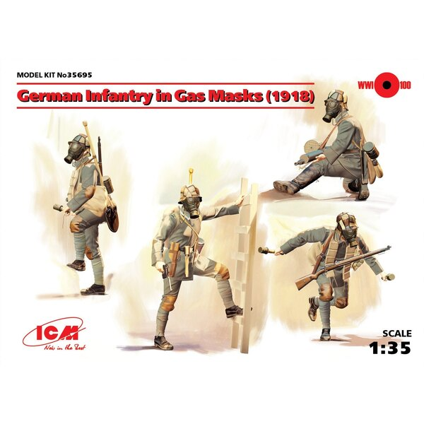 German Infantry in Gas Masks (1918) (4 figures) • The set includes a figure of the Feldwebel and three soldier's figures