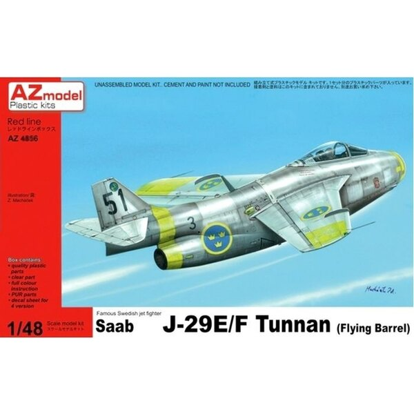 Re-release! Saab 29E/F Tunnan with decals for Swedish Air Force (also huge price reduction! and new box art!) (not Austrian as w