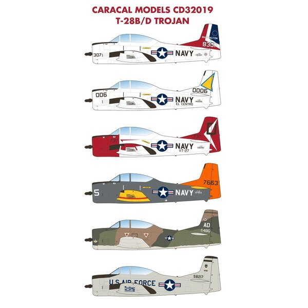 Décal Trojan nord-américain T-28B / D: plusieurs options de la marine américaine T-28 incluant un schéma bicentenaire coloré et