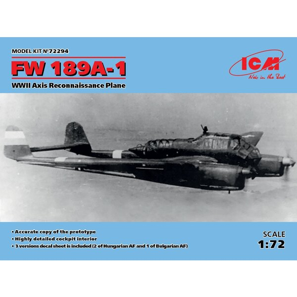 Focke-Wulf Fw-189A-1 WWII Axis Reconnaissance Plane • Highly detailed cockpit interior• 3 versions decal sheet is