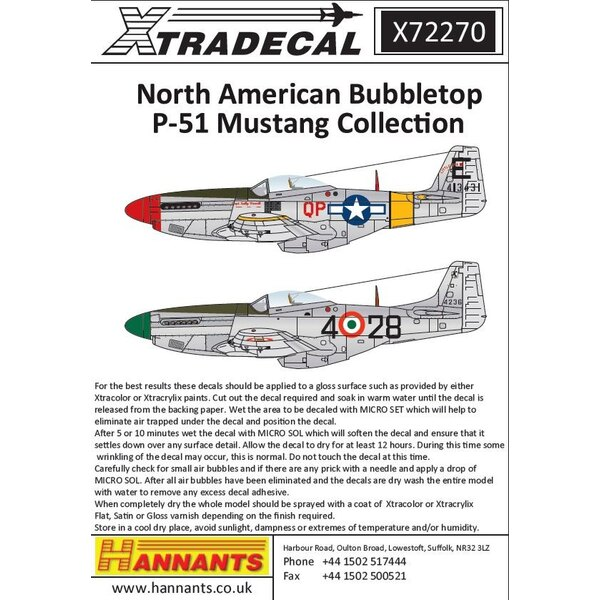 Bubbletops nord-américains nord-américains P-51D Mustang (11) KH727 DJ-V 93 Sqn Italie 1946; 44-13431 QP-E 'Little Eva' Capt J.S