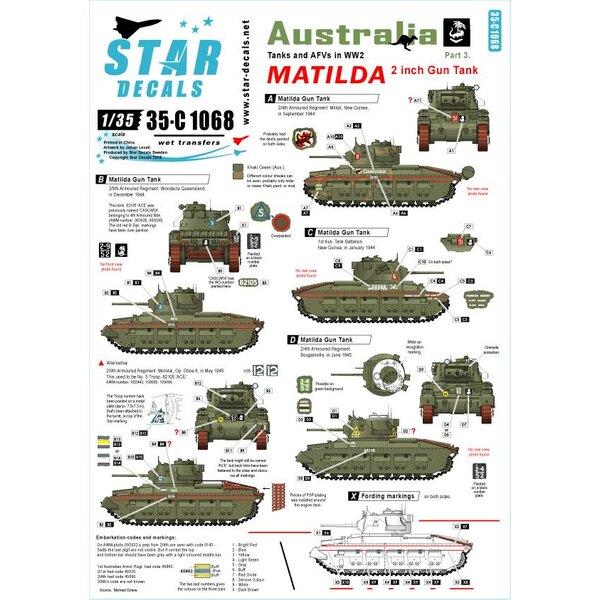 Australia Tanks & AFV 3. MATILDA.Réservoir de pistolet de 2 pouces dans la prise de force.