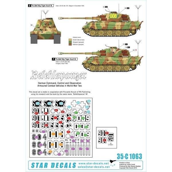 Befehls Tiger I et Tiger II.Befehlspanzer 7. Réservoirs allemands de commandement, de contrôle et d'observation.