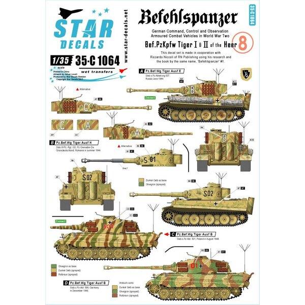 Befehls Tiger I et Tiger II.Befehlspanzer 8. Réservoirs allemands de commandement, de contrôle et d'observation.