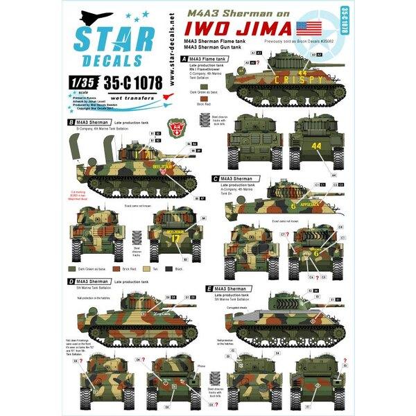 Réservoir de fusil M4A3 et réservoir de flamme.M4A3 Sherman sur Iwo Jima.4e et 5e bataillon de chars.Vendu auparavant comme B