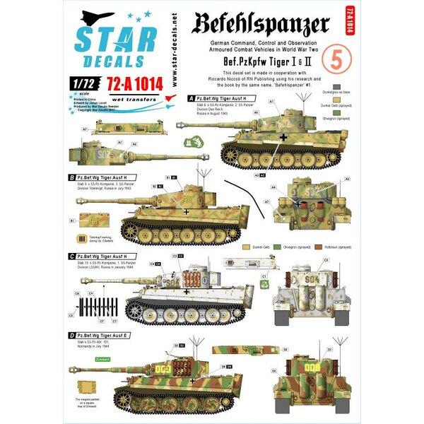 Pz.Bef.Wagen Tiger I et II.Befehlspanzer 5. Réservoirs allemands de commandement, de contrôle et d'observation.