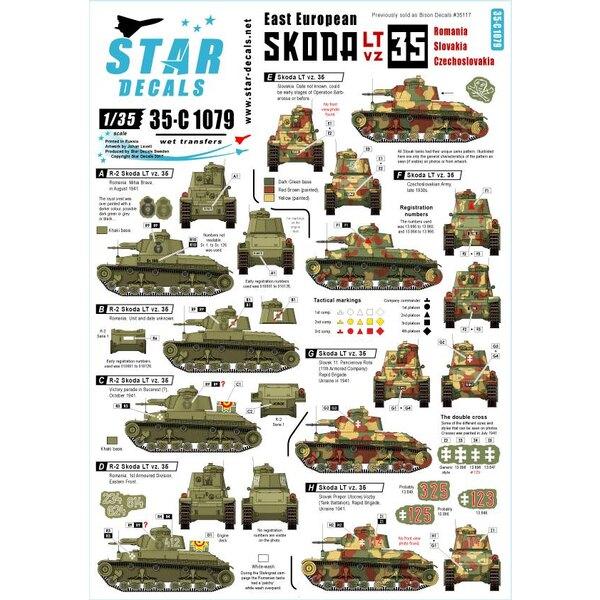 Roumanie, Tchécoslovaquie et Slovaquie.East European Skoda LT vz 35. Anciennement vendu comme Bison-Decal 35117.