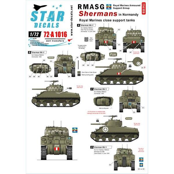 Royal Marines Fermer les réservoirs de soutien.Balances de compas pour 2 modèles complets.RMASG Shermans en Normandie.Sherman