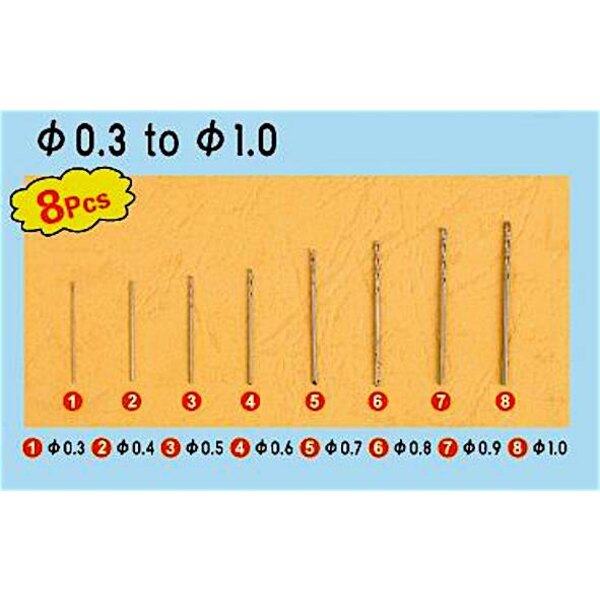 Twist forage Auger Bit Set 1 ( » 0,3 à 1,0 mm 8 pcs ea)