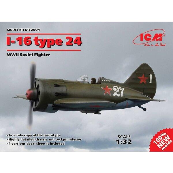 Polikarpov I-16 type 24, WWII Soviet Fighter (100% nouveaux moules) Copie précise du prototype Châssis très détaillé et intérieu