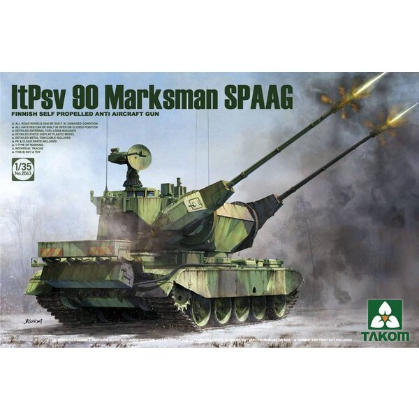 Pistolet anti-aérien autopropulsé finlandais ItPsv 90 Marksman SPAAG