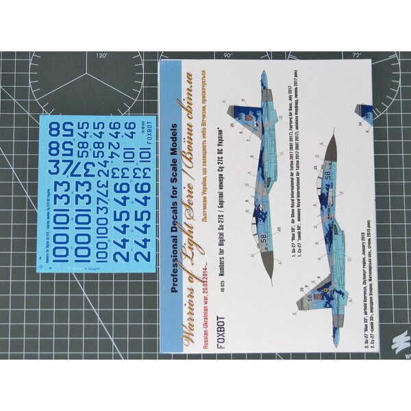 Digital Sukhoi Su-27S Numbers for Academy, Trumpeter kit