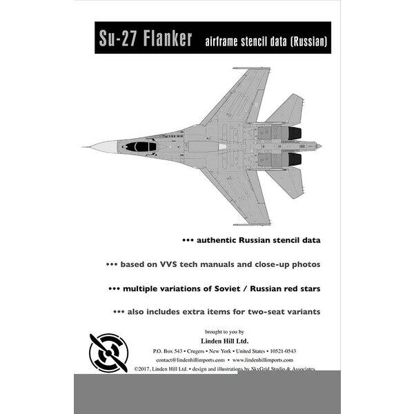 Sukhoi Su-27 Flanker B mise à jour des stencils (recommandé pour l'utilisation avec LHD48040. Redimensionné pour les kits Hobby