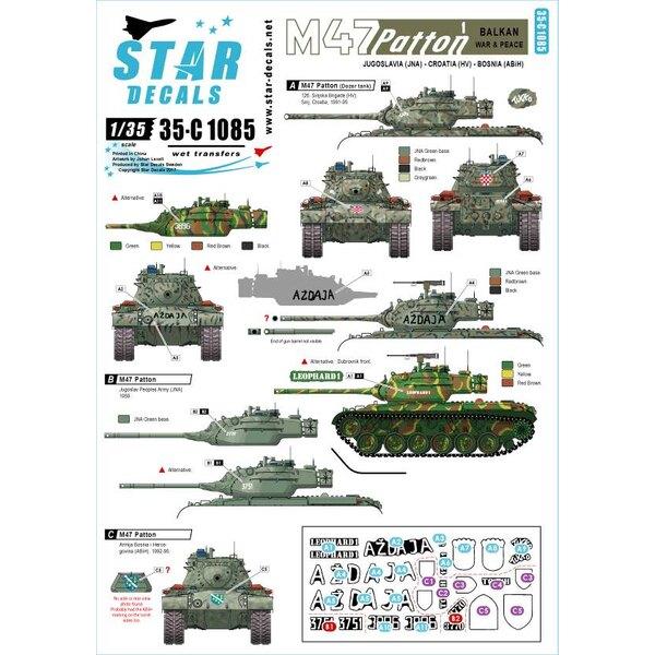 M47 Patton 1. Guerre des Balkans et paix.Yougoslavie JNA, Croatie HV et Bosnie ABiH.