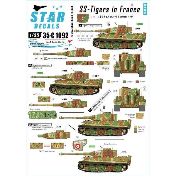 SS-Pz.Kpfw.VI Tigres en France 4. s.SS.Pz-Abt 102, Normandie été 1944, plus français Pz.Kpfw.VI Tiger.