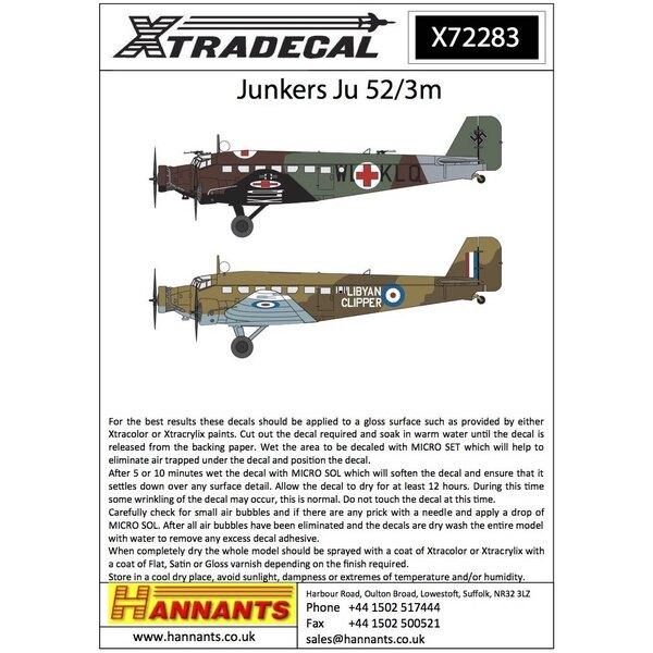 Décal Junkers Ju-52 / 3m (6) de l'aéronef Lufwaffe WL + KLQ Ambulance d'une croix rouge sur les ailes et le fuselage RLM61 / 62/
