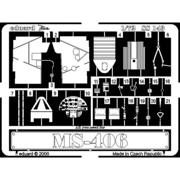 Morane Saulnier MS.406 (pour maquettes Hasegawa) Ce coffret Zoom est une version simplifiée des jeux standard et inclut seulemen
