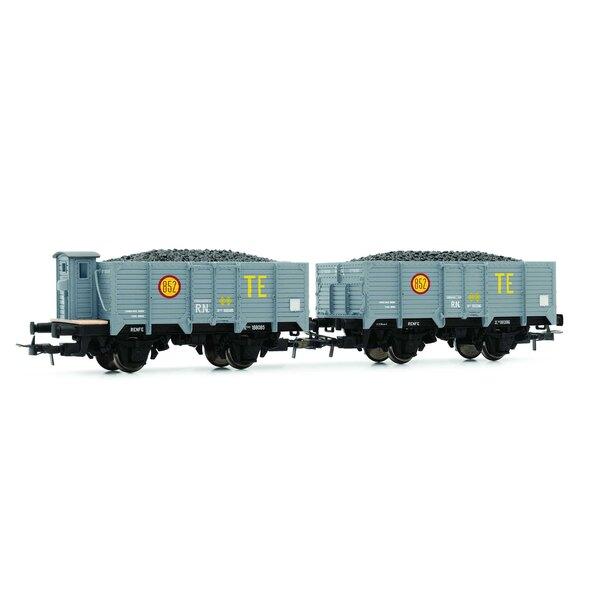"""RN, """"Unifié"""", wagons à charbon ouvert """"TE"""" à 2 unités, chargés de charbon, dont un avec cabine de frein"""