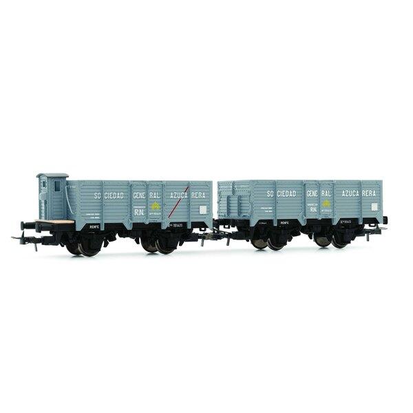 """RN, """"Unifié"""", 2 wagons découverts """"Sociedad General Azucarera"""", vide, l'un avec la cabine de frein, l'autre avec la plate-forme"""