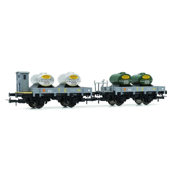 """RN, """"Unified"""", wagons plats à 2 unités, dont un avec cabine de frein, gris, les deux avec une nouvelle charge (2 réservoirs """"TE"""""""