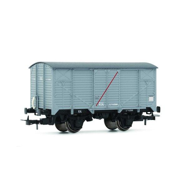 """RN, """"unifié"""", wagon fermé, gris clair avec bande transversale rouge """"wagon isolé"""""""