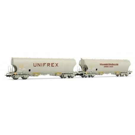Coffret de 2 wagons céréaliers Unifrex et Arbel-Rail à parois latérales bombées SNCF époque IV