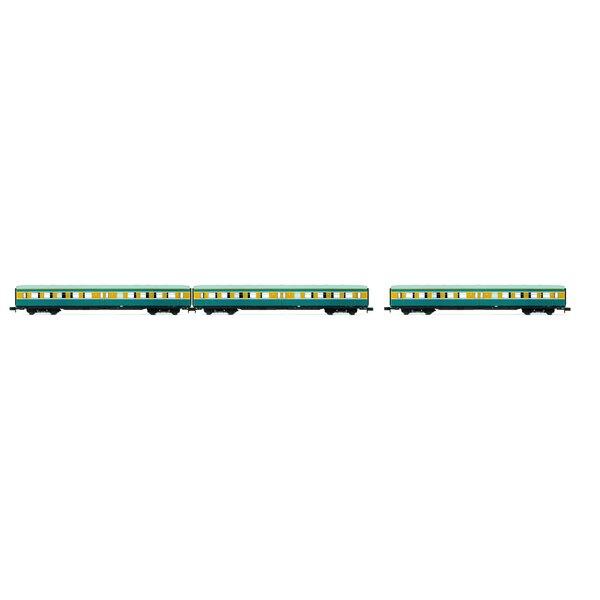 """Set """"S-Bahn Leipzig"""" - 3 voitures sans cabine, DR, période IV, livrée bleu / jaune"""