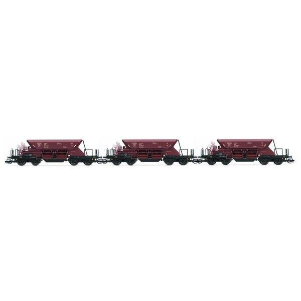 Set x 3 wagons à ballast autodéchargeur avec caisse basse, 2e série, 00tv, livrée marron, période 4
