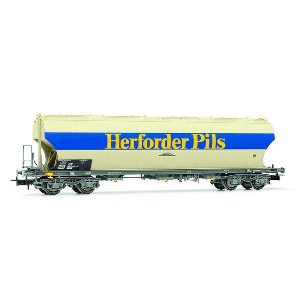 """DB, wagon-trémie à parois latérales """"Herforder Pils"""", gris, époque IV"""