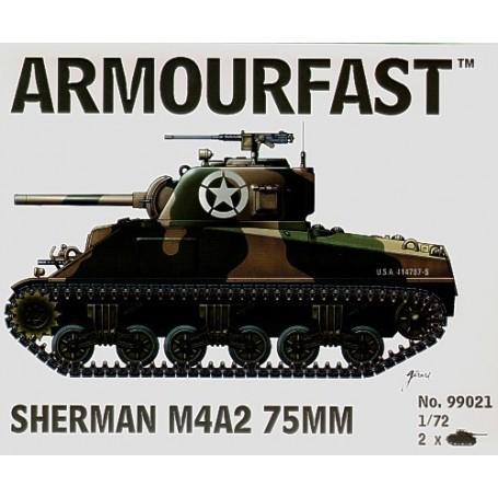 Sherman M4A2 75mm: Le pack contient 2 maquettes de char à monter sans colle
