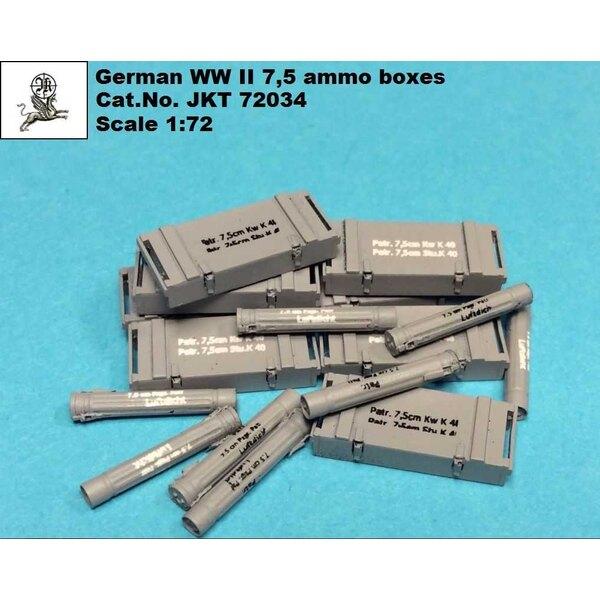 Boîtes à munitions allemandes de la Seconde Guerre mondiale de 7,5 cm