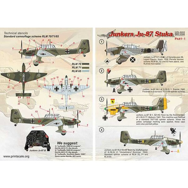 Décal Junkers Ju-87 'Stuka' Part 1 <br />1. Junkers Ju-87A-1 29-2 of Kampfgruppe 88, Legion Condor. Spain 1938.<br /><br />2. Ju