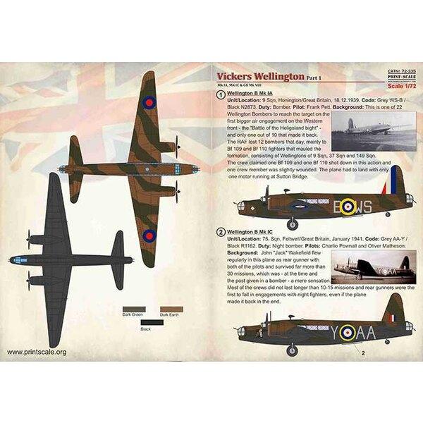 Décal Vickers Wellington Mk.IA/C & GR Mk.VIII, Part 1<br />Vickers Wellington Part-1 / 72-335 /<br />1. Wellington B Mk IA.Unit/