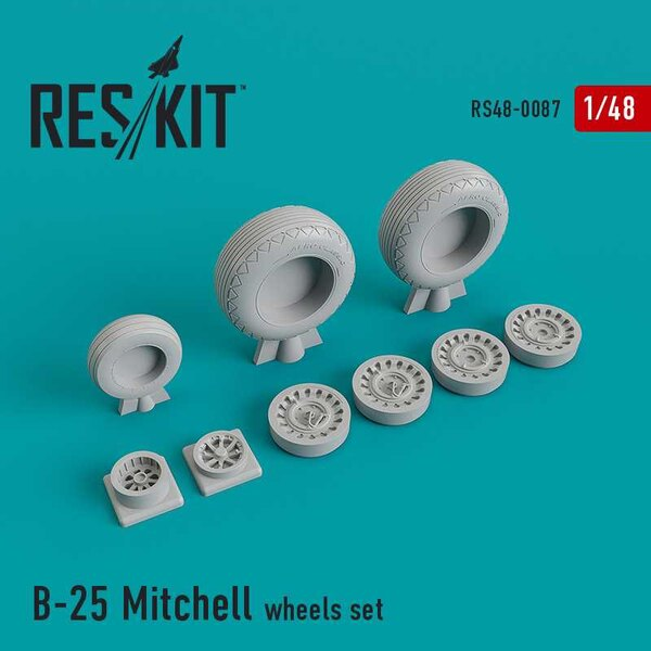 North-American B-25 Mitchell wheels set (designed to be used with Academy, Accurate Miniatures, Italeri, Monogram and Revell kit