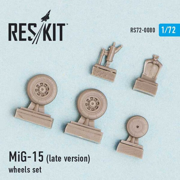 Mikoyan MiG-15 (late version) wheels set (designed to be used with Airfix, Dragon, Eduard, Hobby Boss, Kopro (ex KP), Master Cra
