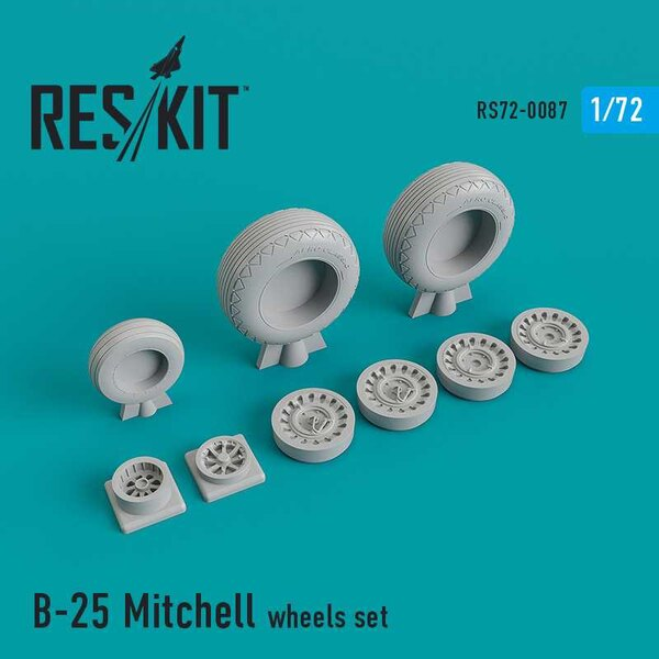 North-American B-25B/B-25C/B-25J Mitchell wheels set (designed to be used with Airfix, AZ Model, FROG, Hasegawa, Heller and Ital